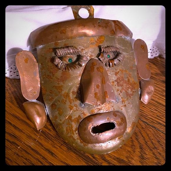 Antique folk art tin mask